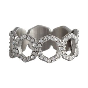 Picture of Silver with Crystals Octagonal Ring - Size 6
